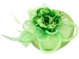 12 Units of Sinamay Fascinator With Flower And Feather Trim In Green - Church Hats
