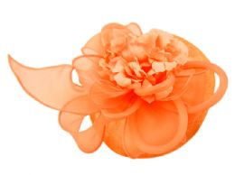 12 Units of Sinamay Fascinator With Flower And Feather Trim In Orange - Church Hats