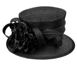 12 Units of Sinamay Fascinator With Flower And Feather Trim In Black - Church Hats