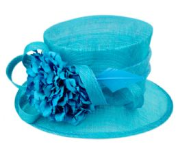 12 Units of Sinamay Fascinator With Flower And Feather Trim In Turquoise - Church Hats