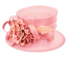 12 Units of Sinamay Fascinator With Flower And Feather Trim In Pink - Church Hats