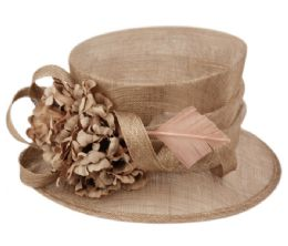 12 Units of Sinamay Fascinator With Flower And Feather Trim In Khaki - Church Hats