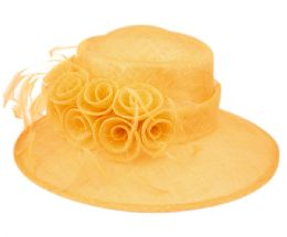 12 Units of Sinamay Fascinator With Flower And Feather Trim In Yellow - Church Hats