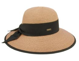 12 Units of Paper Straw Sun Floppy Hats With Grosgrain Band And Fabric Edge - Sun Hats
