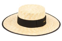 12 Units of Braid Natural Straw Boater Hats With Fabric Edge - Sun Hats