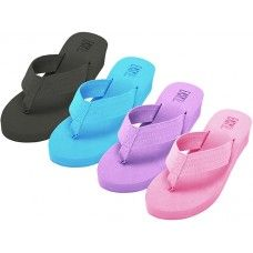 36 Units of Women's Fabric Upper Wedge Thongs - Women's Sandals