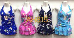 72 Units of Women's One Piece Swimwear Deep V Swimsuits Criss Cross Sexy Bathing Suits Butterfly Pattern - Womens Swimwear