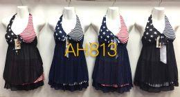 72 Units of Women's One Piece Swimwear Deep V Swimsuits Criss Cross Sexy Bathing Suits American Flag Pattern - Womens Swimwear