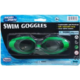 "48 Units of 6"" SWIMMING GOGGLES ON BLISTER CARD, 3 ASSORTED COLORS - Summer Toys"