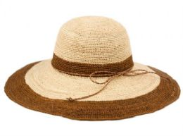 12 Units of Raffia Straw Two Tone Summer Floppy Hats In Natural Brown - Sun Hats