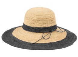 12 Units of Raffia Straw Two Tone Summer Floppy Hats In Natural Black - Sun Hats