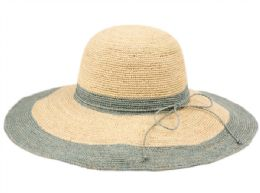 12 Units of Raffia Straw Two Tone Summer Floppy Hats In Natural Gray - Sun Hats