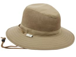 12 Units of Outdoor Safari With Mesh And Chin Cord Strap in Khaki - Fedoras, Driver Caps & Visor