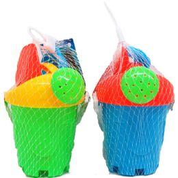 48 Units of Beach Toy Bucket W/acss In Pegable Net Bag - Beach Toys