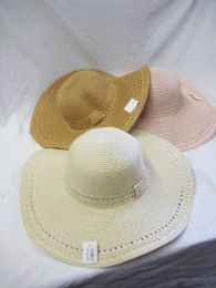 24 Units of Women's Large Brim Straw Hat - Sun Hats