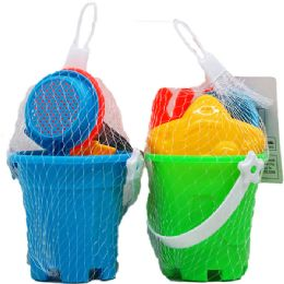 48 Units of Beach Toy Bucket With Accessories In Pegable Net Bag - Beach Toys