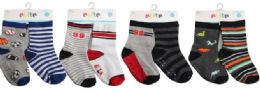 144 Units of Toddler Boys Crew Socks Size 12-24 Moths With Gripper Bottoms - Boys Crew Sock