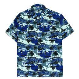 12 Units of Men's Hawaiian Navy Blue Shirt Plus Size, Size 2XL-4XL - Men's Work Shirts