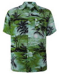 12 Units of Men's Hawaiian Green Shirt, Size S-2XL - Men's Work Shirts