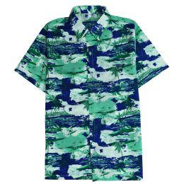 12 Units of Men's Hawaiian Pistachio Green Shirt Plus Size, Size 2XL-4XL - Men's Work Shirts