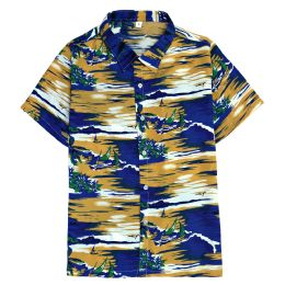 12 Units of Men's Hawaiian Mustard Shirt Plus Size, 2XL-4XL - Men's Work Shirts