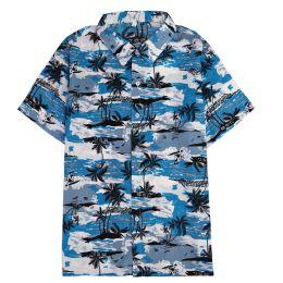 12 Units of Men's Light Blue Motorcycle Print Shirt Plus Size ,Size 2XL-4Xl - Men's Work Shirts