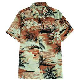 12 Units of Men's Orange Hawaiian Print Shirt Size S-2Xl - Men's Work Shirts