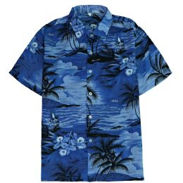 12 Units of Men's Blue Hawaiian Print Shirt Size S-2XL - Men's Work Shirts
