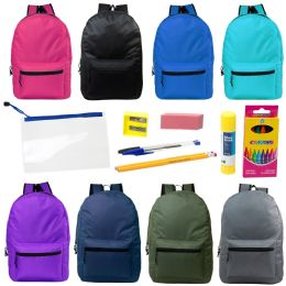 """24 Units of 17"""" Backpacks With 12 Piece School Supply Kit - In 8 Assorted Color - School Supply Kits"""
