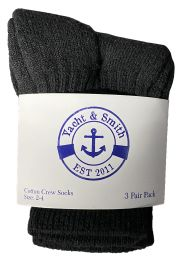 60 Units of Yacht & Smith Kids Value Pack of Cotton Crew Socks Size 2-4 Black BULK PACK - Boys Crew Sock