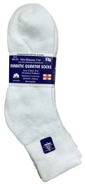 6 Units of Yacht & Smith Men's Loose Fit NoN-Binding Soft Cotton Diabetic Quarter Ankle Socks,size 10-13 White - Men's Diabetic Socks