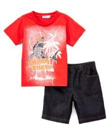 6 Units of Boys Graphic Tshirt And Denim Short SeT- Size 4/5 - 7/8 - Boys Shorts