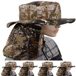 24 Units of Quick Dry Camping Neck Flap Camo Boonie Hat - Sun Hats