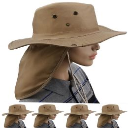 24 Units of Quick Dry Camping Neck Flap Brown Boonie Hat - Sun Hats