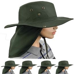 24 Units of Dry Camping Neck Flap Green Boonie Hat - Sun Hats