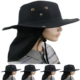 24 Units of Dry Camping Neck Flap Black Boonie Hat - Sun Hats