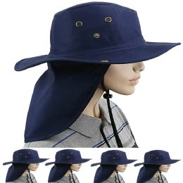 24 Units of Dry Camping Neck Flap Navy Blue Boonie Hat - Sun Hats