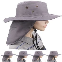 24 Units of Quick Dry Men Camping Neck Flap Boonie Hat - Sun Hats