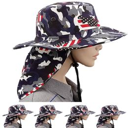 24 Units of MEN SUMMER HAT IN CAMOUFLAGE AMERICAN FLAG WITH BACK FLAPPER - Sun Hats