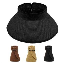 24 Units of WOMAN ROLL UP SUN VISOR HAT - Sun Hats