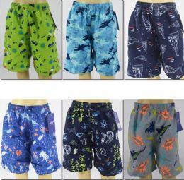 72 Units of Boy's Assorted Printed Bathing Suit - Boys Swim Wear