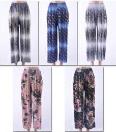 72 Units of Women's Printed Palazzo Pants W/ Belt - Womens Capri Pants