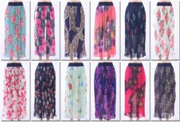 72 Units of Women's Pleated Printed Midi Skirt - Womens Skirts