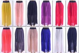 72 Units of Women's Pleated Solid Color Maxi Skirt - Womens Skirts