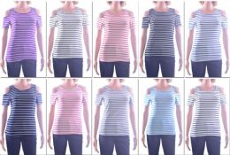 72 Units of Women's Striped Open Shoulder Top - Womens Fashion Tops