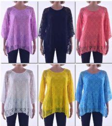 72 Units of Women's Long Sleeve Crochet Top - Womens Fashion Tops