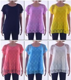 72 Units of Women's Short Sleeve Crochet Top - Womens Fashion Tops