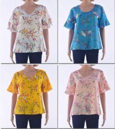 72 Units of Women's V Neck W/ Flare Shirt Sleeve - Womens Fashion Tops
