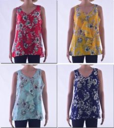 72 Units of Women's Floral Ruffle Sleeveless Top - Womens Fashion Tops