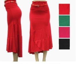 48 Units of Women's High Low Fitted Skirt With Belt - Womens Skirts